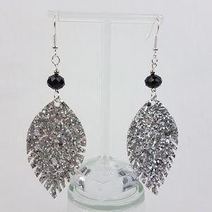 Handmade Glitter Earrings in Silver